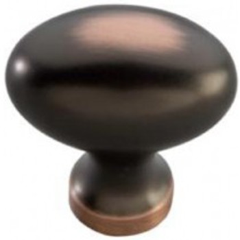 """Belwith Hickory, Williamsburg, 1 1/4"""" Oval Knob, Oil Rubbed Bronze Highlighted"""