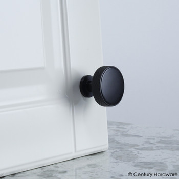 "Century, Diamond Knurling, 1 3/8"" (35mm ) Brass Knurled Round Knob, Matte Black, installed"
