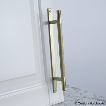 "Century, Diamond Knurling, 5 1/16"" (128mm) Brass Knurled Bar Pull with Backplate, Satin Brass, installed"