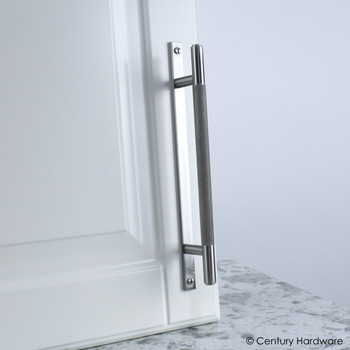 "Century, Diamond Knurling, 5 1/16"" (128mm) Brass Knurled Bar Pull with Backplate, Matte Satin Nickel, installed"