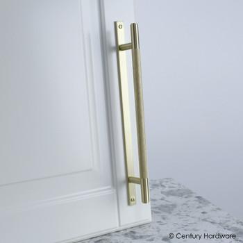 "Century, Diamond Knurling, 6 5/16"" (160mm) Brass Knurled Bar Pull with Backplate, Satin Brass, installed"