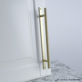 "Century, Diamond Knurling, 6 5/16"" (160mm) Brass Knurled Bar Pull with Backplate, Satin Brass, installed"