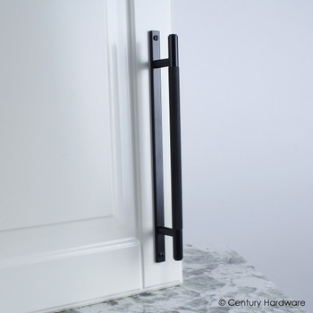 "Century, Diamond Knurling, 6 5/16"" (160mm) Brass Knurled Bar Pull with Backplate, Matte Black, installed"
