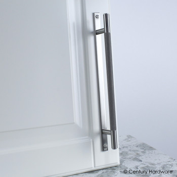 "Century, Diamond Knurling, 6 5/16"" (160mm) Brass Knurled Bar Pull with Backplate, Matte Satin Nickel, installed"