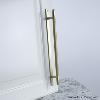 "Century, Diamond Knurling, 7 9/16"" (192mm) Brass Knurled Bar Pull with Backplate, Satin Brass, installed"