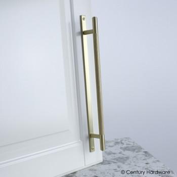 "Century, Diamond Knurling, 7 9/16"" (192mm) Brass Knurled Bar Pull with Backplate, Satin Brass, installed"