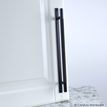 "Century, Diamond Knurling, 7 9/16"" (192mm) Brass Knurled Bar Pull with Backplate, Matte Black, installed"