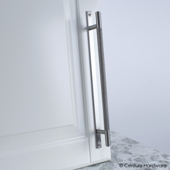 "Century, Diamond Knurling, 7 9/16"" (192mm) Brass Knurled Bar Pull with Backplate, Matte Satin Nickel, installed"
