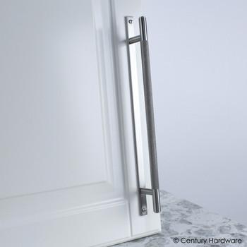 "Century, Diamond Knurling, 7 9/16"" (192mm) Brass Knurled Bar Pull with Backplate, Matte Satin Nickel, installed"