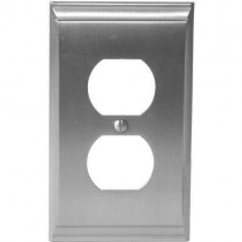 Amerock, Candler, 1 Receptacle Outlet Wall plate, Satin Nickel