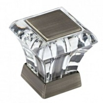 """Amerock, Abernathy, 1 1/16"""" Square knob, Clear with Antique Silver"""