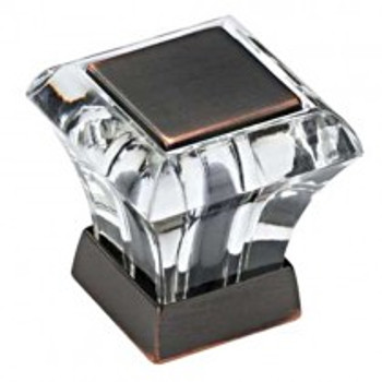 """Amerock, Abernathy, 1 1/16"""" Square Knob, Clear with Oil Rubbed Bronze"""