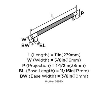 "Amerock, Esquire, 10 1/16"" (256mm) Bar pull - technical drawing"