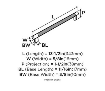 "Amerock, Esquire, 12 5/8"" (320mm) Bar pull - technical drawing"