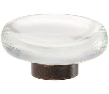 """Amerock, Glacio, 1 3/4"""" Round Knob, Clear with Oil Rubbed Bronze"""