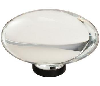 """Amerock, Glacio, 1 3/4"""" Oval Knob, Clear with Oil Rubbed Bronze"""