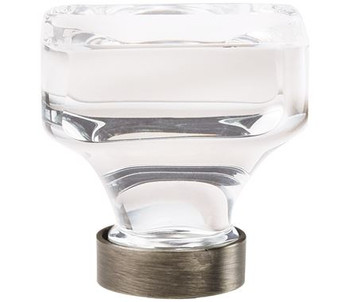 "Amerock, Glacio, 1 3/8"" Square knob, Clear with Gunmetal"