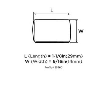 "Amerock, Riva, 1 1/8"" Length Pull knob - technical drawing - top"