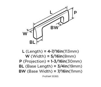 """Amerock, Riva, 5 1/16"""" (128mm) Straight pull - technical drawing - top"""