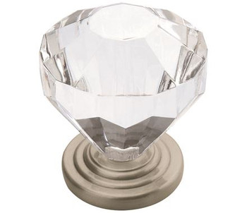 """Amerock, Traditional Classics, 1 1/4"""" Round Knob, Clear with Satin Nickel"""