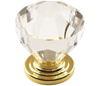 "Amerock, Traditional Classics, 1 1/4"" Round knob, Clear with Burnished Brass"