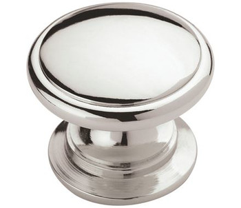 "Amerock, Ravino, 1 1/4"" Round Wide Bottom Knob, Polished Chrome"