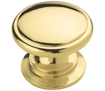 "Amerock, Ravino, 1 1/4"" Round Wide Bottom Knob, Polished Brass"