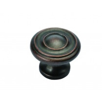 "Belwith Hickory, Altair, 1 1/4"" Round knob, Dark Antique Copper"