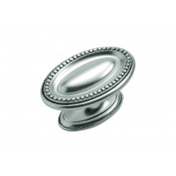 """Belwith Hickory, Altair, 1 3/4"""" Oval Knob, Satin Antique Silver"""