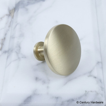 "Century, Modern Geo, 1 1/2"" Solid Brass Round Knob, Satin Brass, side view"