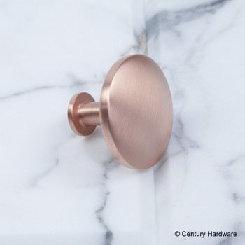 "Century, Modern Geo, 1 1/2"" Solid Brass Round Knob, Satin Rose Gold, side view"