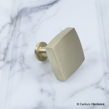 "Century, Modern Geo, 1 3/16"" Solid Brass Square Knob, Satin Brass, side view"