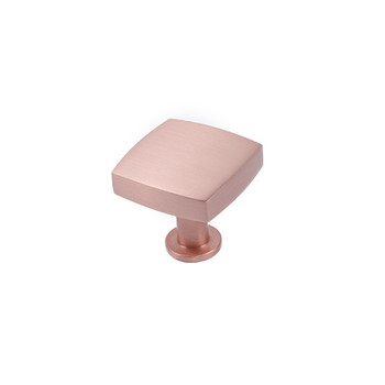 "Century, Modern Geo, 1-3/16"" Solid Brass Square Knob Satin Rose Gold"