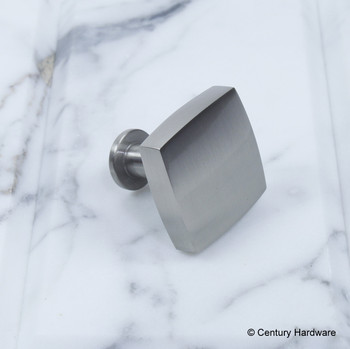 "Century, Modern Geo, 1 3/16"", Solid Brass Square Knob, Matte Satin Nickel, side view"