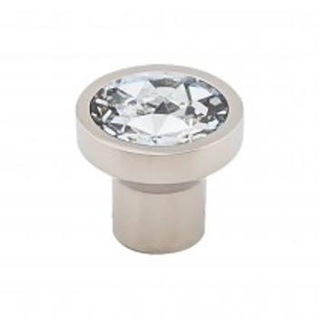 "Top Knobs, Barrington, Wentworth Crystal, 13/16"" Round Knob, Polished Nickel"