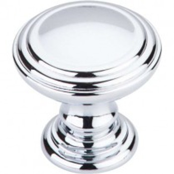 "Top Knobs, Chareau, Reeded, 1 1/2"" Round Knob, Polished Chrome"