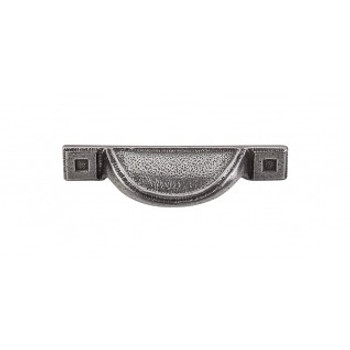 """Top Knobs, Brittania, Square Inset, 2 1/2"""" Cup pull, Cast Iron"""