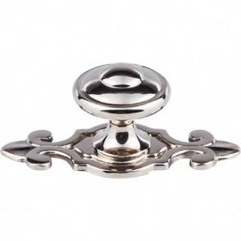 """Top Knobs, Brittania, Canterbury 1 1/4"""" Round Knob with Backplate, Polished Nickel"""