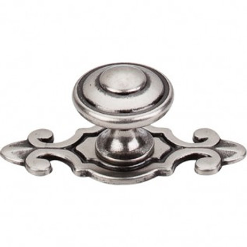 """Top Knobs, Brittania, Canterbury 1 1/4"""" Round Knob with Backplate, Pewter Antique"""