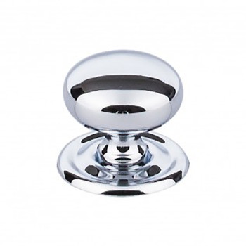 "Top Knobs, Brittania, Victoria, 1 1/4"" Round with backplate, Polished Chrome"