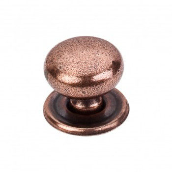 """Top Knobs, Brittania, Victoria, 1 1/4"""" Round with Backplate, Old English Copper"""