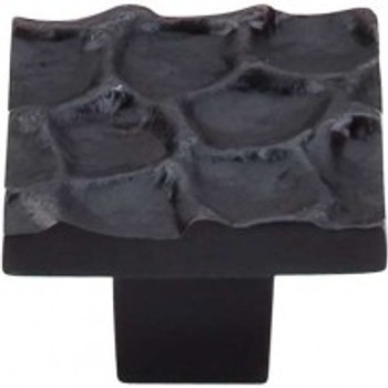 "Top Knobs, Cobblestone, 1 3/8"" Square Knob, Coal Black"
