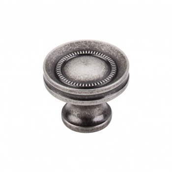 "Top Knobs, Somerset II, 1 1/4"" Button Round Knob, Pewter Antique"