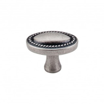 "Top Knobs, Somerset II, 1 1/4"" Rope Oval knob, Pewter Antique"