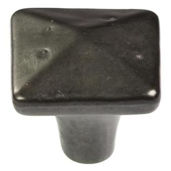 "Belwith Hickory, Carbonite, 1 1/4"" Square knob, Black Iron"