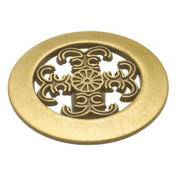 "Belwith Hickory, Cavalier, 1 1/2"" Intricate Round Knob, Antique Brass"