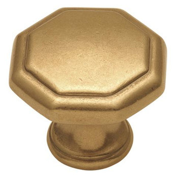 """Belwith Hickory, Conquest, 1 1/8"""" Octagon Knob, Luster Brass"""