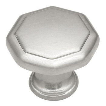 """Belwith Hickory, Conquest, 1 1/8"""" Octagon Knob, Satin Nickel"""