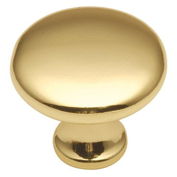 """Belwith Hickory, Conquest, 1 1/8"""" Round Knob, Polished Brass"""