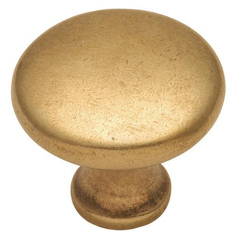 """Belwith Hickory, Conquest, 1 1/8"""" Round Knob, Luster Brass"""